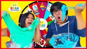 Mystery Wheel of Slime Challenge Ryan's Mommy vs Ryan's Daddy!