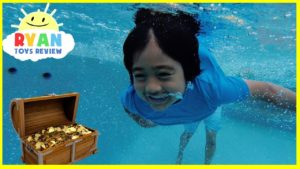 Ryan finds Secret Treasure Chest with Surprise Toys in swimming pool!!!!