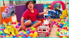 Ryan Pretend Play Paw Patrol Rescue Mission with Ultimate Rescue Vehicles!