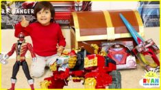 Ryan Pretend Play with Power Rangers Surprise Toys Treasure Chest!