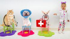 Настя играет в ветеринарную клинику
