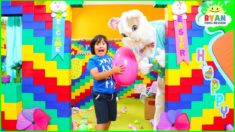Ryan in Giant Lego Box Fort House Easter Eggs Hunt Challenge!
