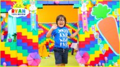 Ryan Pretend Play in Giant Lego Box Fort Playhouse!!!