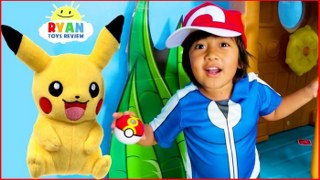 Ryan Pretend Play with Pikachu Pokemon Go In Real life!!