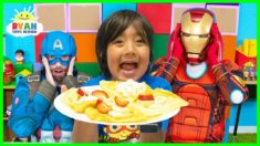 Ryan Pretend Play Cooks Breakfast for Avengers Superheroes