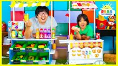 Ryan Pretend Play Grocery Store and Ice Cream Hot Dog Cart Toys!