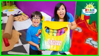 Ryan lost Giant Crayon in Giant Box Fort Maze