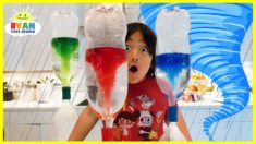 Ryan create Tornado in the bottle science experiments for Kids!!!