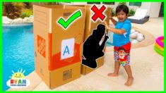Don't Push the Wrong Mystery Box into the Pool Challenge!!!