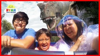 Ryan Rides Jurassic World The Ride at Universal Studios Amusement Park!!!!