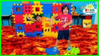 Ryan Pretend Play with Colored Toy Blocks and The Floor is Lava!!!!!