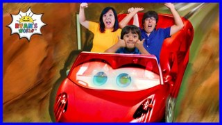 Disneyland Cars Rides and Fun Kids Amusement roller coasters with Ryan