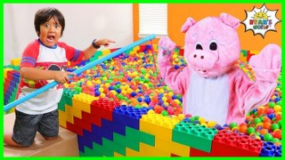 Ryan hide and Seek Fishing For Animals in Ball Pit Box Fort!!