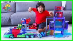 PJ Masks Helps Ryan track Romeo with PJ Seeker Vehicle and Mission Control HQ!!!