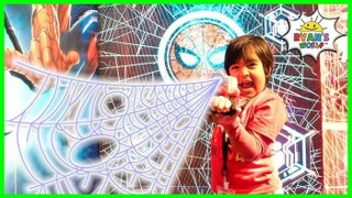 Spiderman Web Sling Superheroes and Transformers with Ryan's World!!!
