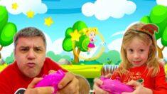 Настя и папа создали сами новую игру для детей