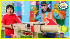How to Make DIY Ball Launcher from Cardboard with Ryan and Builder John!!!