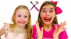 Настя и Стейси играют с косметикой для девочек