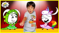 Ryan Pretend Play Dress up with Emma and Kate EK Doodles   Kids animation