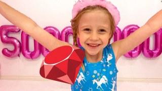 Настя празднует 50 миллионов подписчиков на канале Лайк Настя