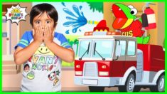 Ryan Pretend Play learning Fire Safety from Firefighters with Gus the Gummy Gator!