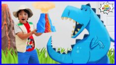 Ryan's Dinosaur Adventure to find Mystery Volcano Surprise!!!