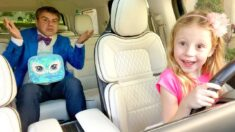 Nastya pretends to be a parent for dad