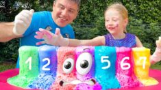 Nastya and dad are learning to count to 10
