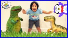 Ryan Pretend Play Dinosaur Hunt around the house!!!