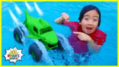 Ryan plays with Monster Truck Car that walks on Water!!!