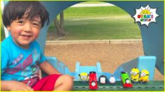Ryan play with Trains at the Playground!!!
