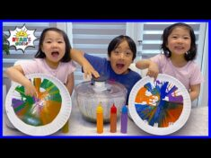 Spin Art Paint Challenge with Salad Spinner with Ryan!!!