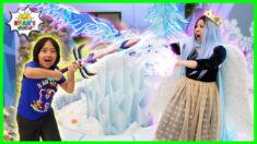Ryan vs The Evil Ice Queen Frozen the WHOLE HOUSE!!!