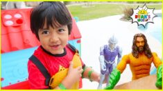 Superhero Ryan Pretend Play with Playhouse Adventure 1 hr kids video!!