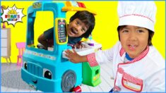 Ryan's Food Truck Play kitchen serving Pretend Play FOOD with 1hr kids video!!!