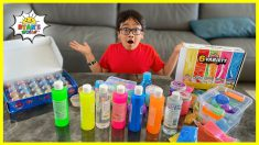 Ryan mixing all my store bought slime challenge!!