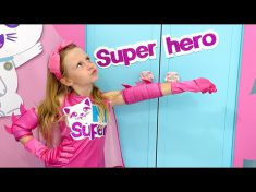 Nastya pretends to be a superhero and helps her friends