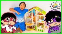 Ryan Plays with Giant Doll House  Superhero Story
